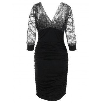Double V Sparkle Ruched Bodycon Dress - BLACK L