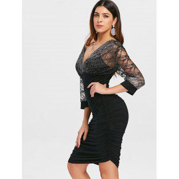 Double V Sparkle Ruched Bodycon Dress - BLACK M