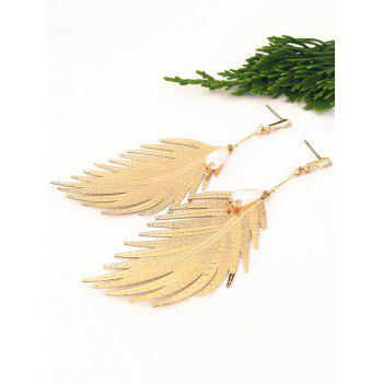 Statement Alloy Feather Dangle Drop Earrings - GOLD