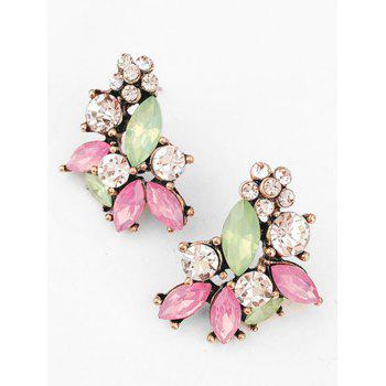 Vintage Colored Rhinestone Inlaid Drop Earrings - multicolor