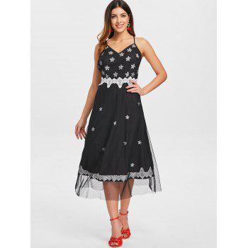 Spaghetti Strap Printed Mesh Overlay Dress - BLACK L