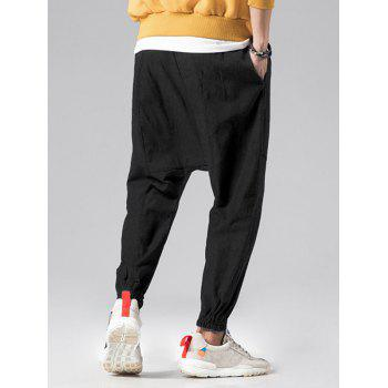Graphic Embroidery Detail Applique Flatlock Seams Jogger Pants - BLACK L