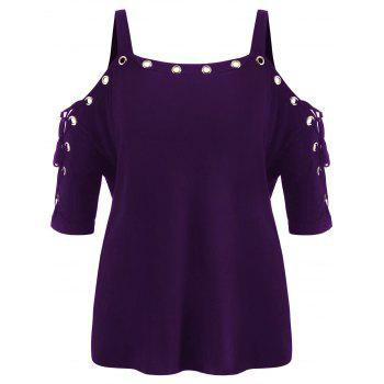 Plus Size Lace Up Cold Shoulder T-shirt - PURPLE IRIS 5X