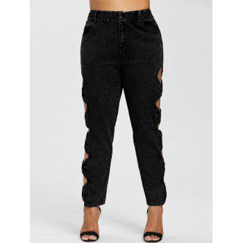 Plus Size Cutout Sides High Rise Jeans - BLACK 5X