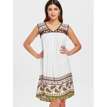 Cut Out Paisley Print Dress - WHITE 2XL