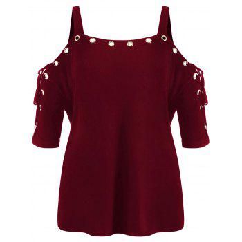 Plus Size Lace Up Cold Shoulder T-shirt - RED WINE 1X