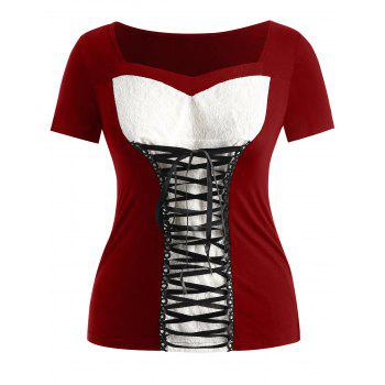 Lace Insert Plus Size Sweetheart Neck T-shirt - RED WINE 4X