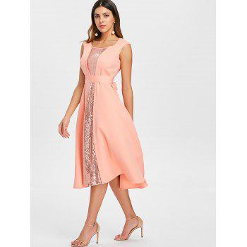 Robe de cocktail sans manches à paillettes - Orange Rose M