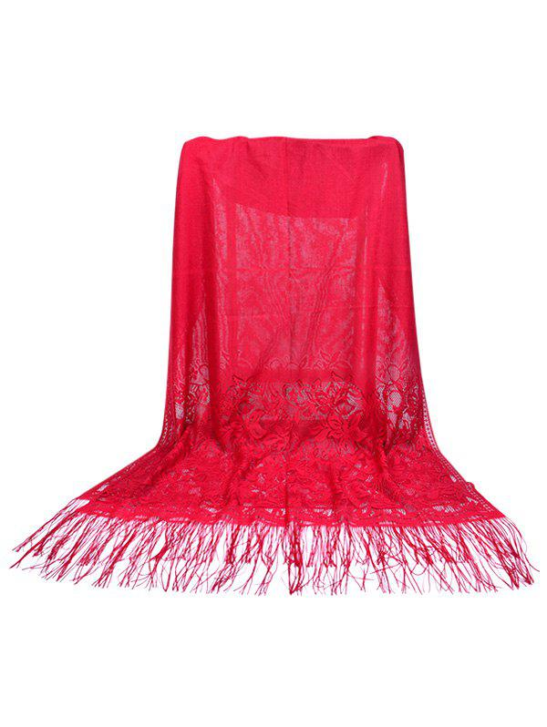 Floral Lace Fringed Silky Long Scarf - RED WINE