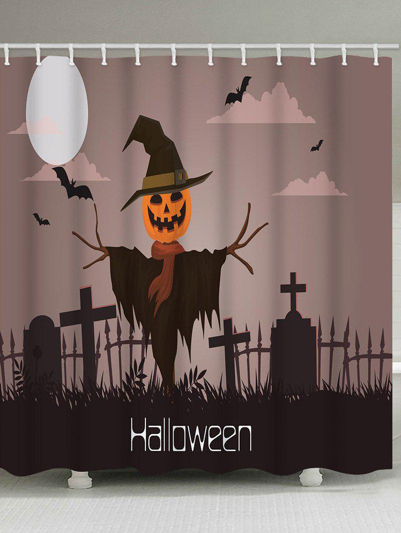 Halloween Night Cemetery Print Waterproof Shower Curtain - multicolor W71 INCH * L71 INCH