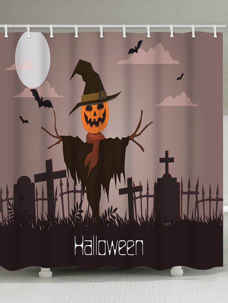 Halloween Night Cemetery Print Waterproof Shower Curtain - multicolor W59 INCH * L71 INCH