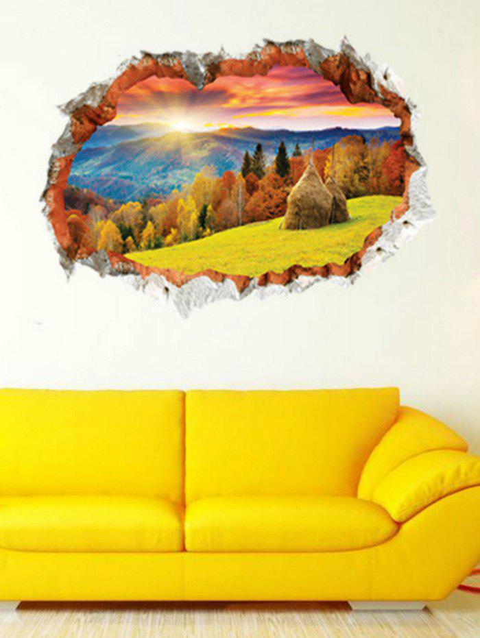 3D Sunset Forest Landscape Printed Home Decor Wall Sticker