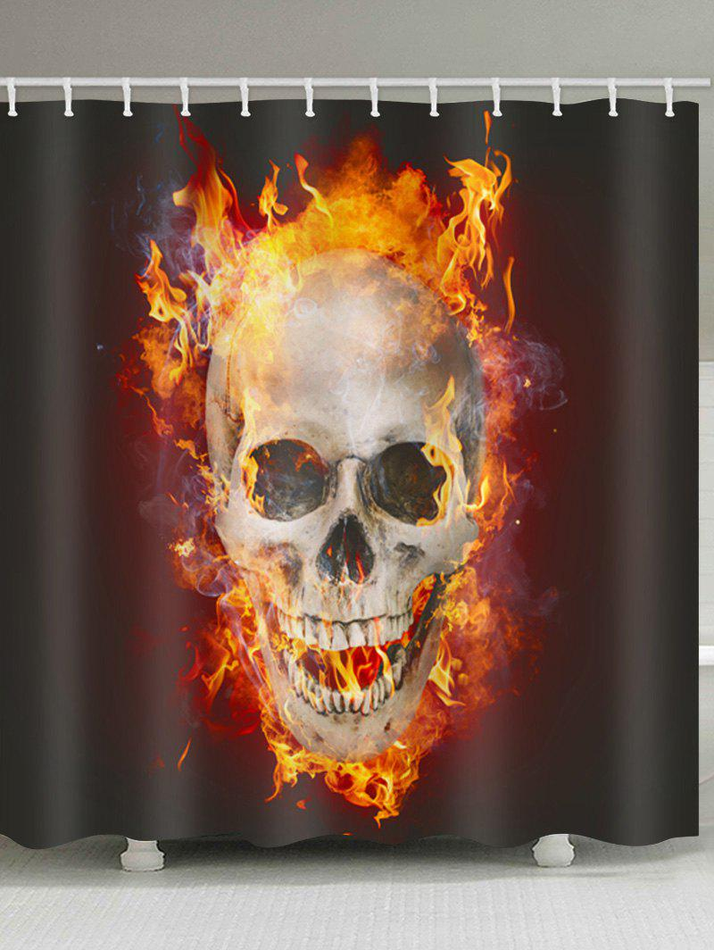 Skull Flame Print Waterproof Shower Curtain - multicolor W71 INCH * L71 INCH