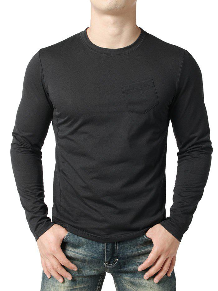 Seam Detail Chest Pocket Casual Long Sleeve T-shirt - BLACK 2XL