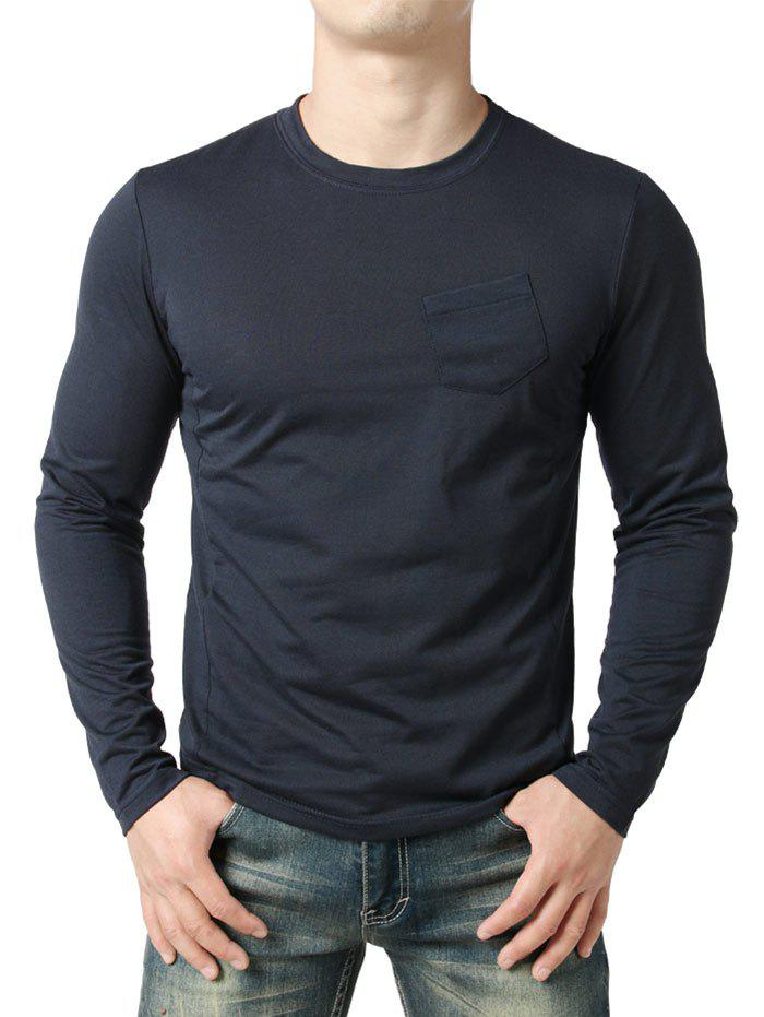 Seam Detail Chest Pocket Casual Long Sleeve T-shirt - NAVY BLUE XL