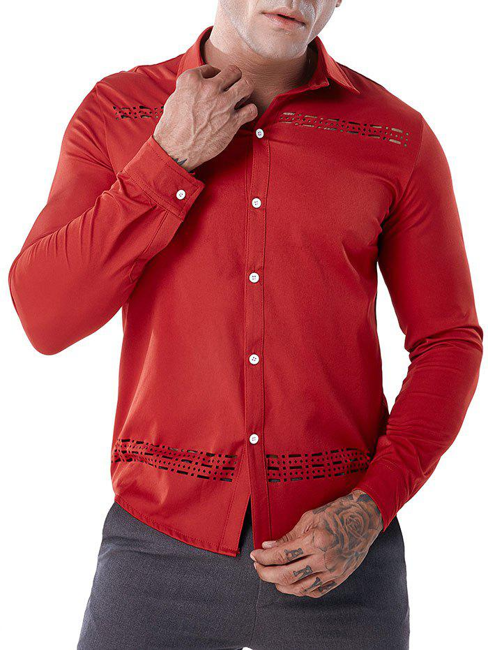 Button Up Openwork Solid Color Shirt - RED S