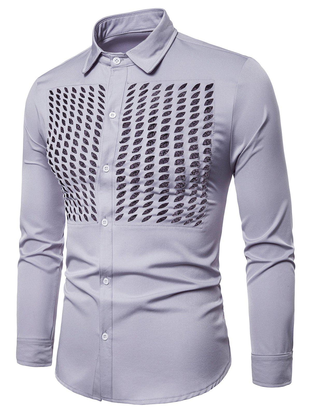 Lace Panel Hollow Out Button Up Shirt - GRAY S