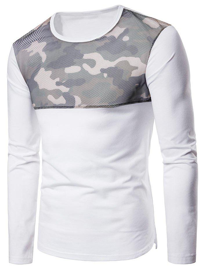 Camouflage Mesh Patchwork Casual T-shirt - WHITE S