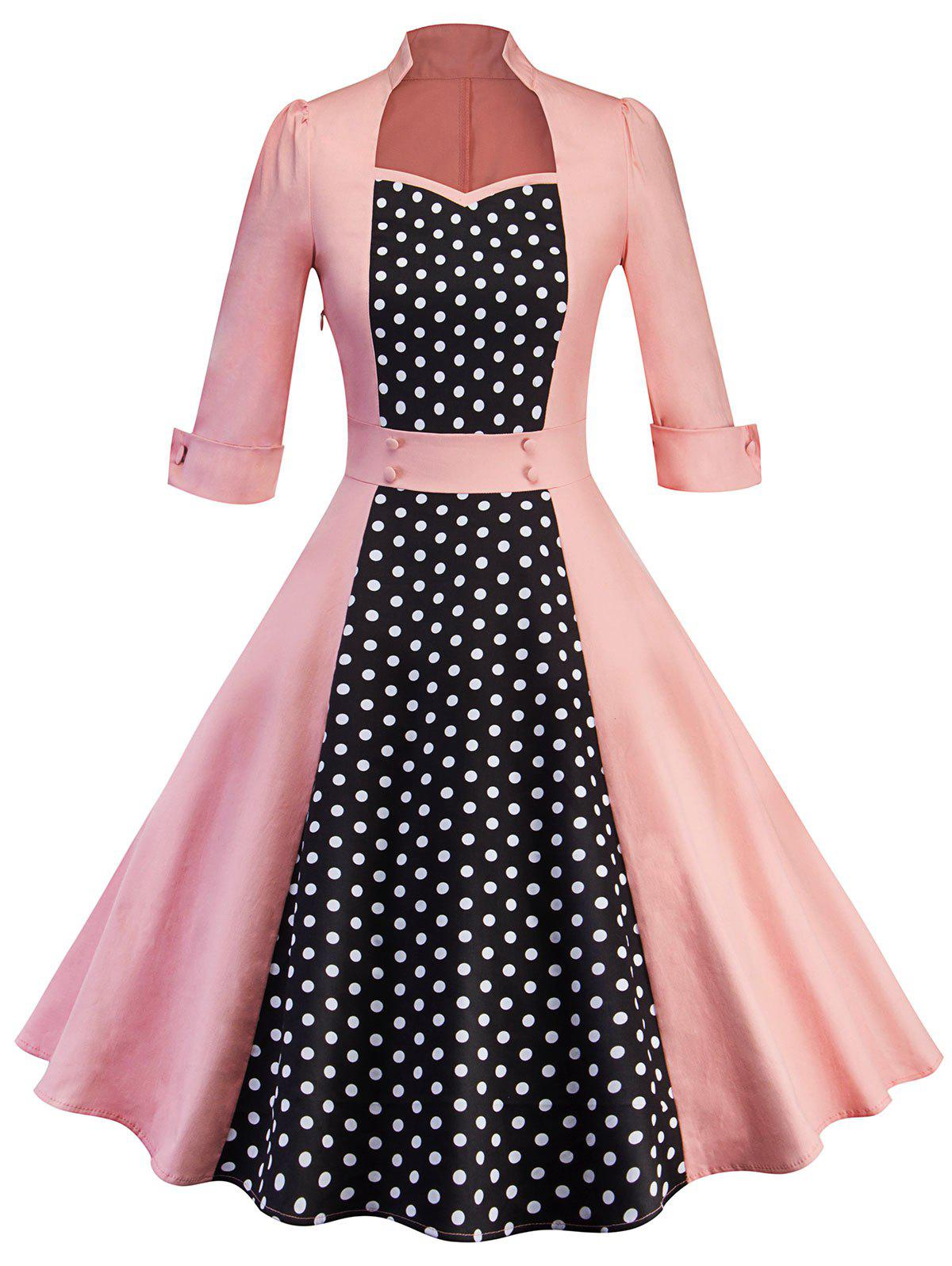 Sweetheart Neck Polka Dot Insert Vintage Dress - PINK S