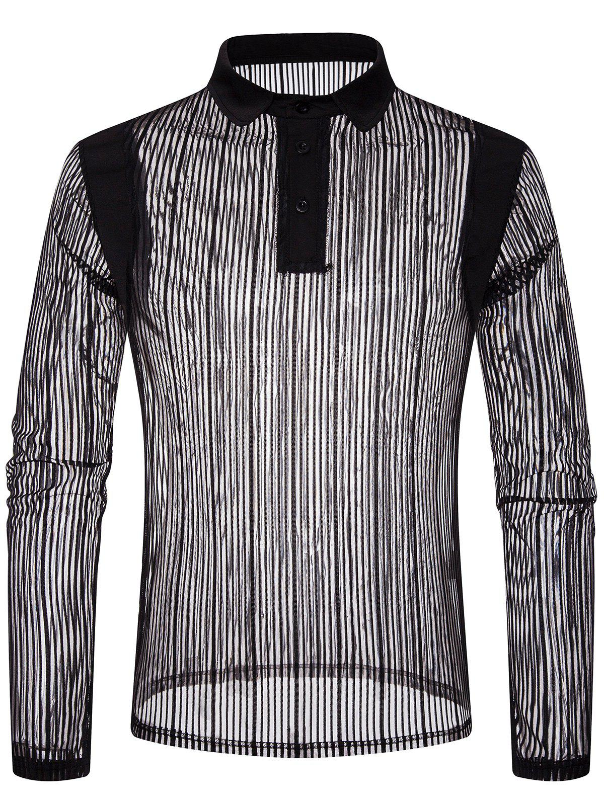Solid Color Patch Detail Striped Mesh Polo Shirt - BLACK M