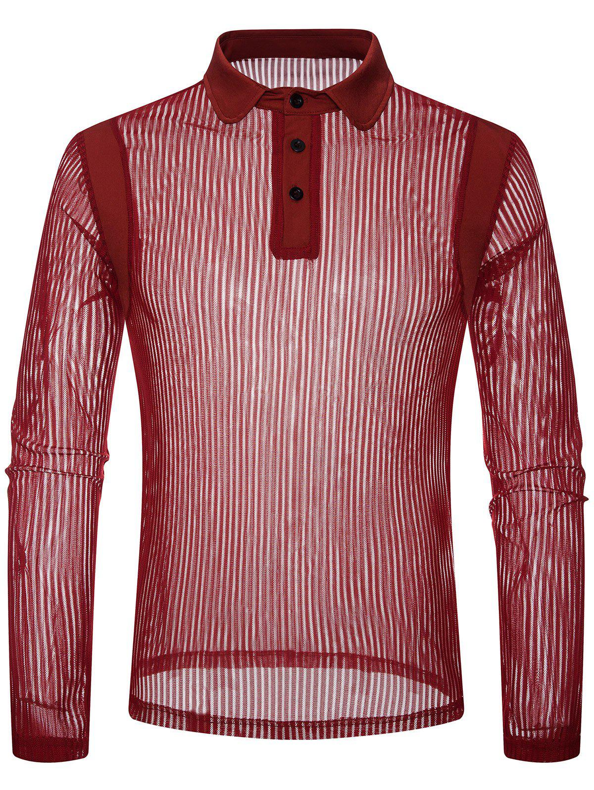 Solid Color Patch Detail Striped Mesh Polo Shirt - RED 2XL