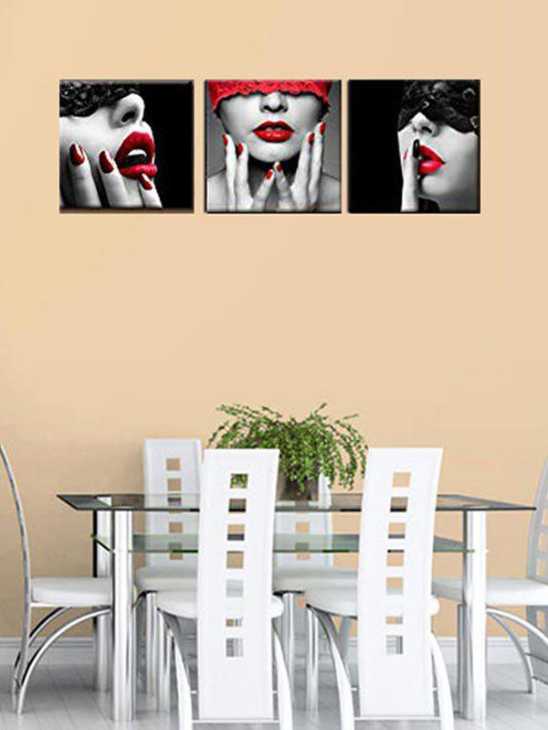 Blindfolded Beauty Print Unframed Canvas Paintings - multicolor 3PC:12*12 INCH( NO FRAME )
