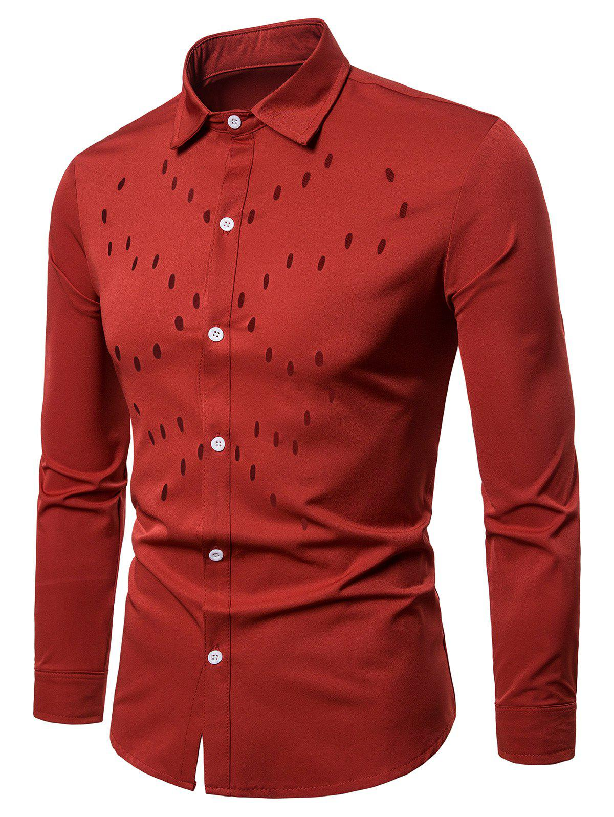 Solid Color Chest Hollow Design Button Up Shirt - RED S
