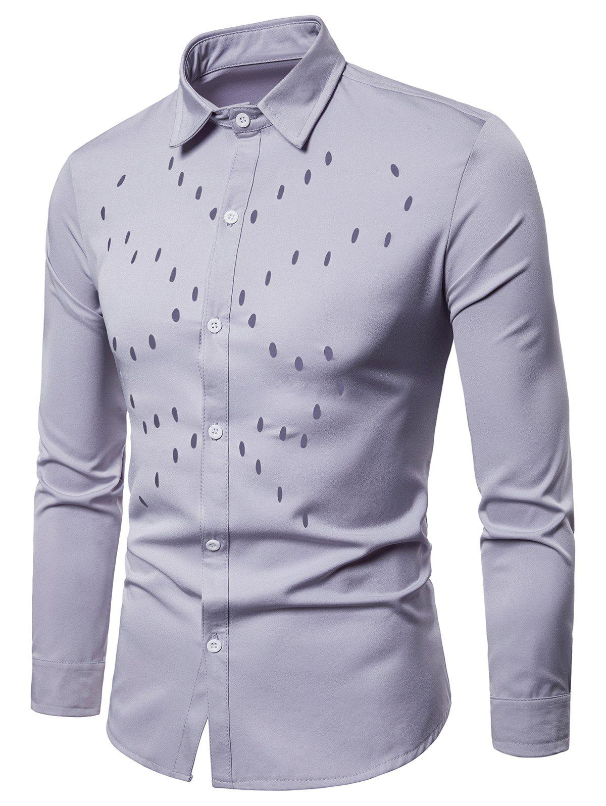 Solid Color Chest Hollow Design Button Up Shirt - GRAY S