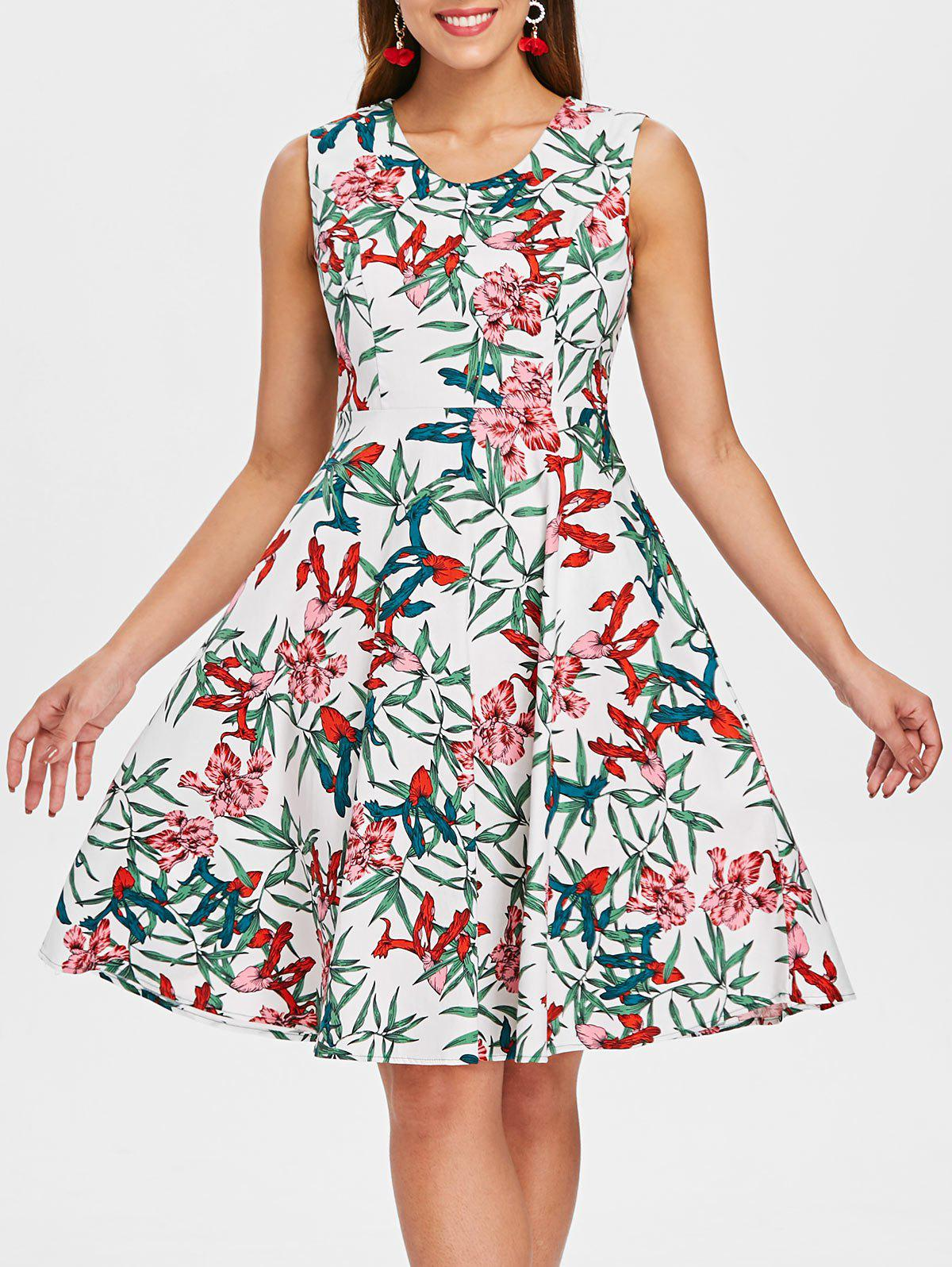 Floral Print Skater Dress - WHITE XL