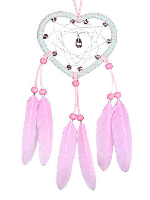 Handmade Feathers Heart Dream Catcher - BLOSSOM PINK 35*10CM