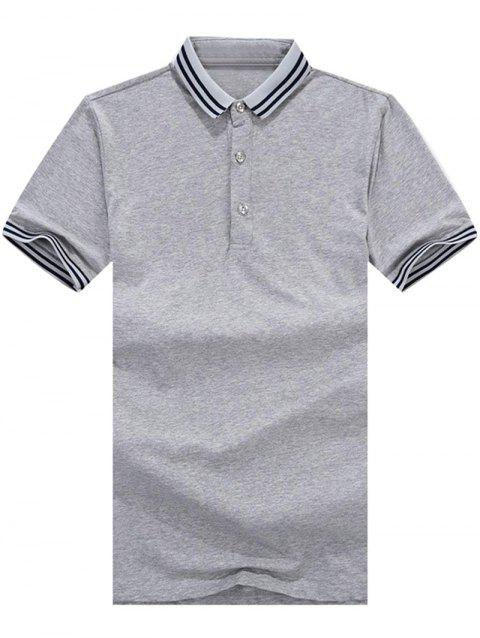 Stripe Trim Polo Collar Casual T-shirt - GRAY CLOUD L