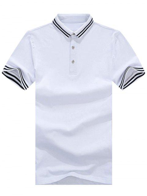 Stripe Trim Polo Collar Casual T-shirt - WHITE XL