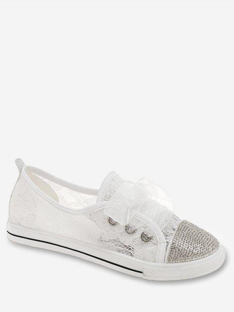 Rhinestones Lace Up Breathable Sneakers - WHITE 37