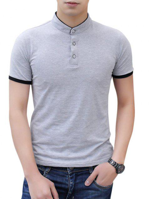 Contrast Color Stand Collar Polo Shirt - LIGHT GRAY M