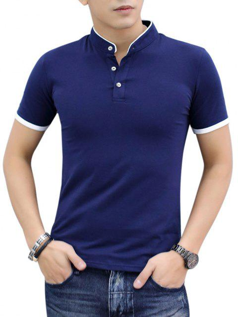 Contrast Color Stand Collar Polo Shirt - CADETBLUE M