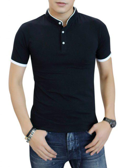Contrast Color Stand Collar Polo Shirt - BLACK L