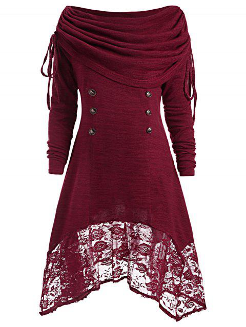 Button Embellished Floral Lace Asymmetrical Tee - WINE RED 2XL