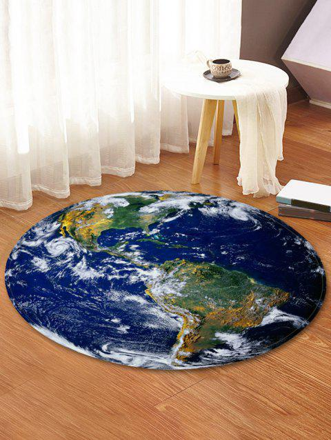 Earth World Map Printed Round Area Rug - multicolor 80 CM (ROUND)