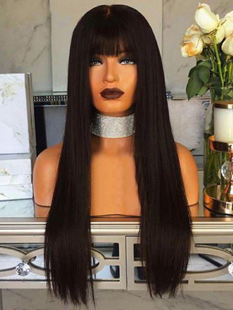 Full Bang Long Straight Capless Synthetic Wig - NATURAL BLACK