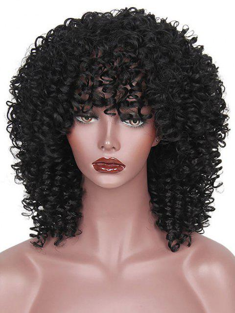 Full Bang Medium Afro Kinky Curly Synthetic Wig - NATURAL BLACK