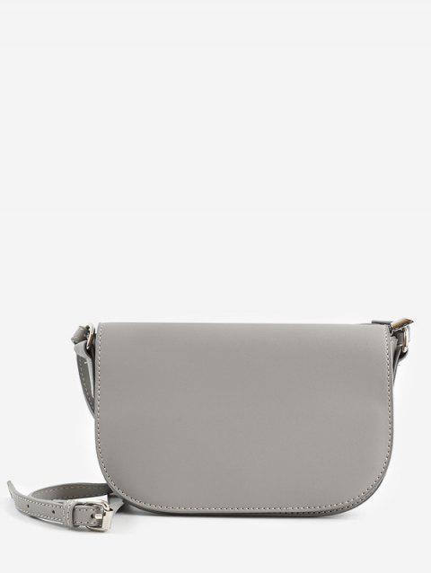 Double Straps Solid Flap Crossbody Bag - GRAY