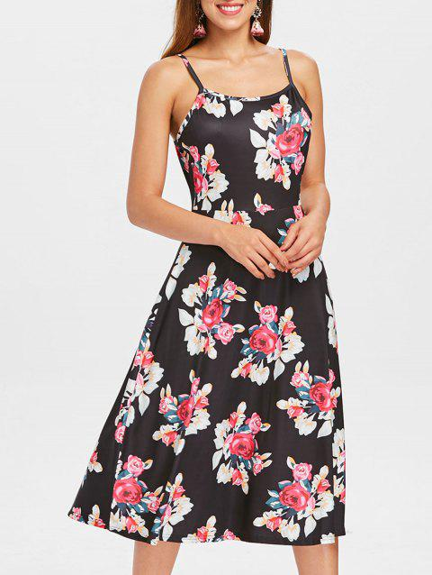 Spaghetti Strap Floral Midi Dress - BLACK L