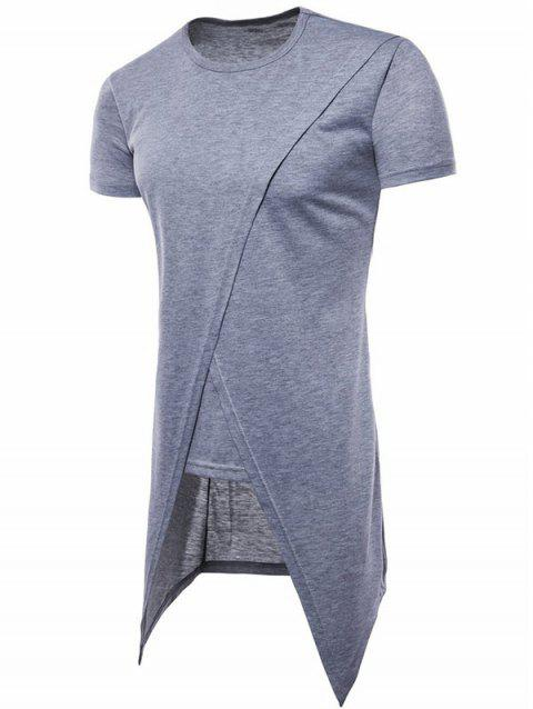 Asymmetric Short Sleeve Faux Twinset Tee - LIGHT GRAY M