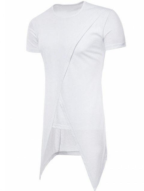 Asymmetric Short Sleeve Faux Twinset Tee - WHITE M