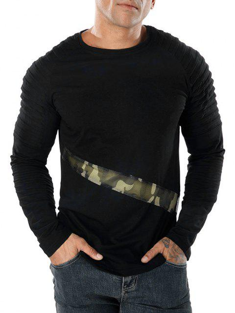 Camo Splicing Sleeve Pleated Design T-shirt - BLACK S