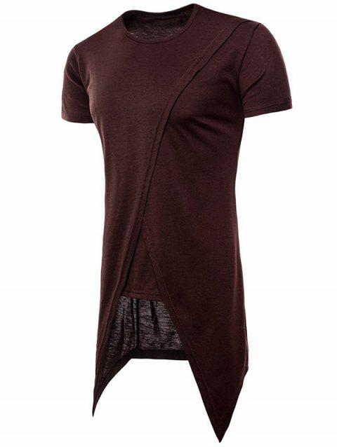 Asymmetric Short Sleeve Faux Twinset Tee - COFFEE L