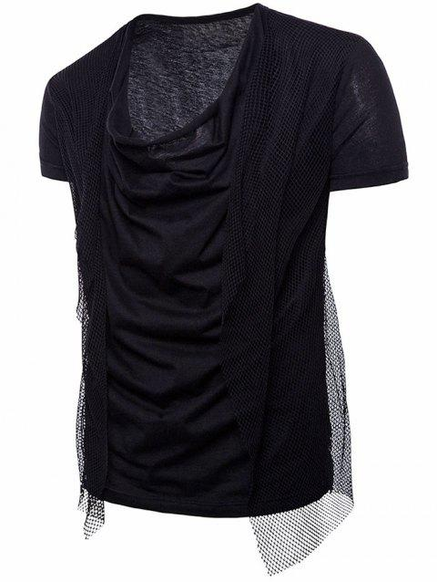 Voile Decorated Layered Tee Shirt - BLACK 2XL