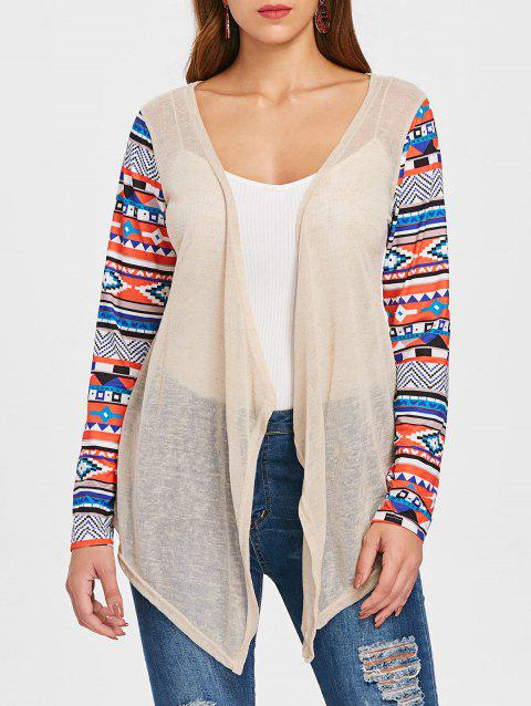 Open Front Collarless Asymmetric Cardigan - BEIGE M