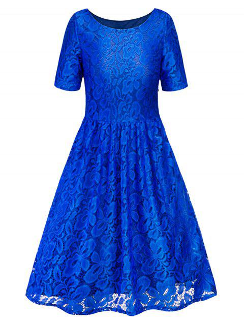 Lace Knee Length Dress - COBALT BLUE M