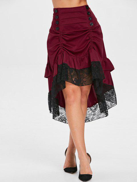 Ruched Midi Skirt with Lace Hem - RED WINE 2XL